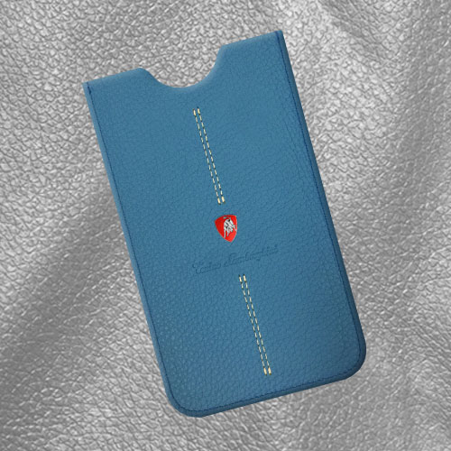 Tonino Lamborghini Italian Leather Phone Case[Blue]